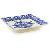 "Polish Pottery Scalloped Platter 6"" Rooster At Night"