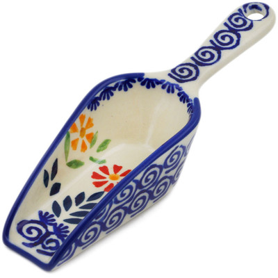 "Polish Pottery Scoop 6"" Wave Of Flowers"