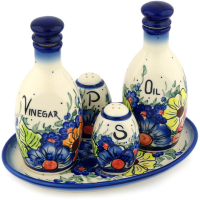 "Polish Pottery Seasoning Set 9"" Summertime Blues UNIKAT"