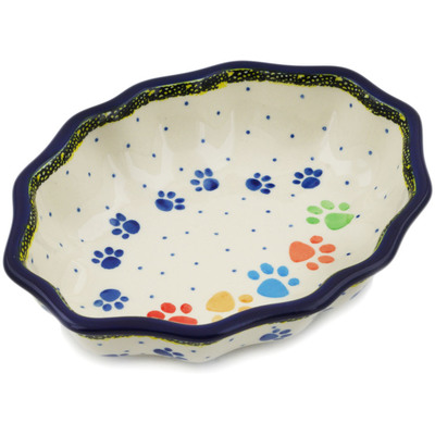 "Polish Pottery Serving Bowl 7"" Children's Happy Paws"