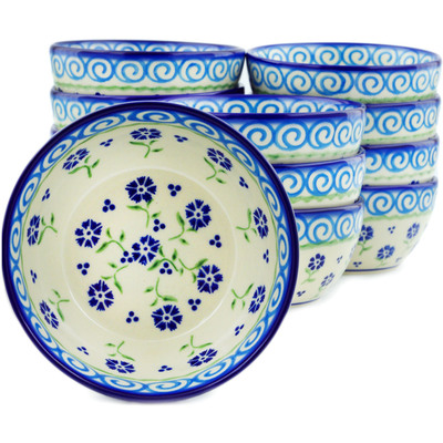 "Polish Pottery Set of 12 Bowls 5"" Blue Bursts"