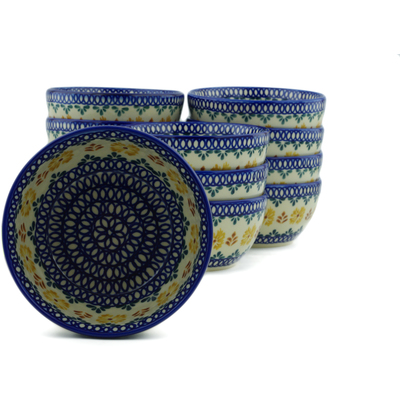 "Polish Pottery Set of 12 Bowls 5"" Golden Flower Garden"