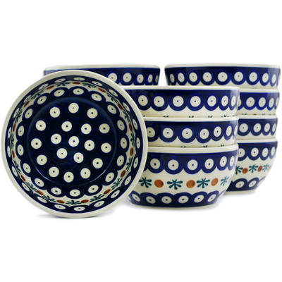 "Polish Pottery Set of 12 Bowls 5"" Mosquito"