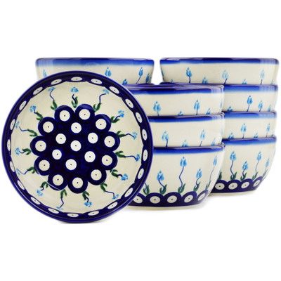 "Polish Pottery Set of 12 Bowls 5"" Peacock Tulip Garden"