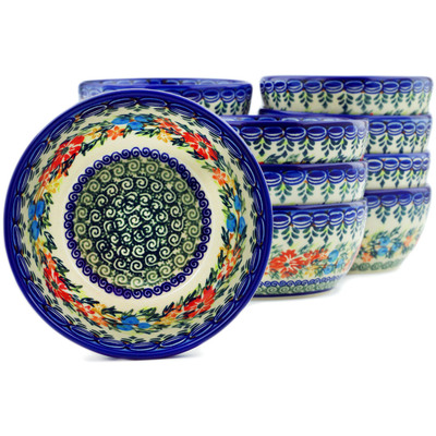 "Polish Pottery Set of 12 Bowls 5"" Ring Of Flowers UNIKAT"