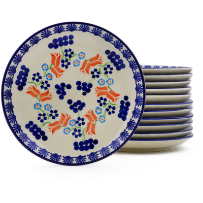 Polish Pottery Set of 12 dessert plates Tulip Berries