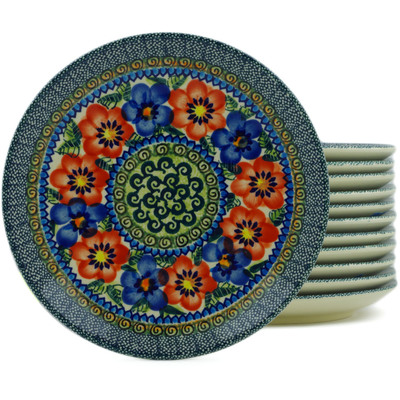 "Polish Pottery Set of 12 Plates 7"" Blue And Red Poppies UNIKAT"