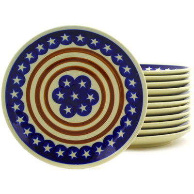 "Polish Pottery Set of 12 Plates 7"" Stars And Stripes Forever"