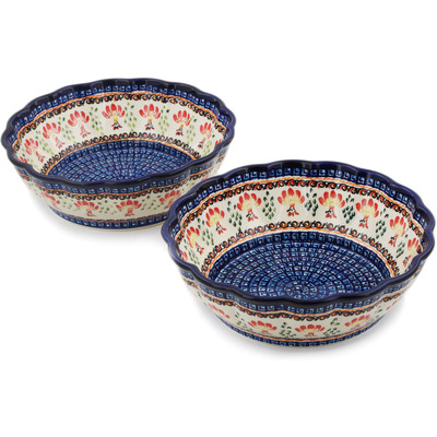 Polish Pottery Set of 2 Bowls Blooming Red