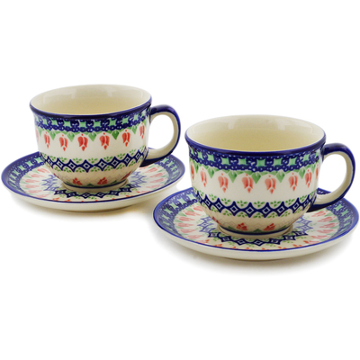 Polish Pottery Set of 2 Cups with Saucers Tulips And Diamonds