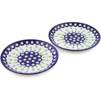 Polish Pottery Set of 2 dessert plates Peacock Tulip Garden