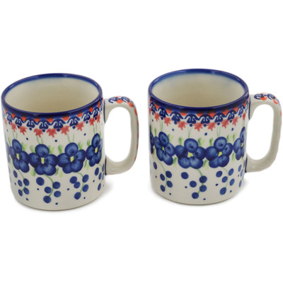 Polish Pottery Set of 2 Mugs Passion Poppy