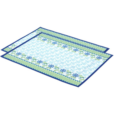 "Polyester Set of 2 Placemats 16"" Blue Dahlia"
