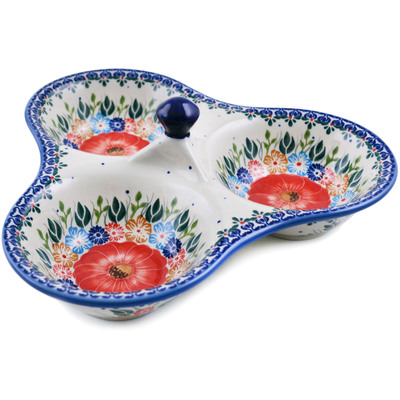 "Polish Pottery Set of 3 Bowls 11"" Summer Bunch"