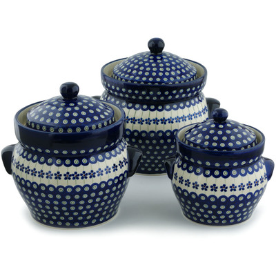"Polish Pottery Set of 3 Jars 10"" Flowering Peacock"