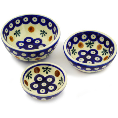 Polish Pottery Set of 3 Nesting Bowls Small Mosquito