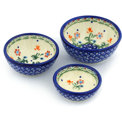 Polish Pottery Set of 3 Nesting Bowls Small Spring Flowers