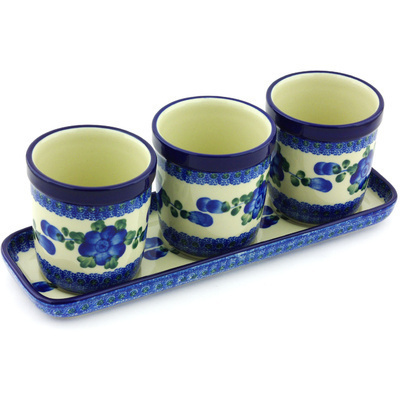 "Polish Pottery Set of 3 Planters 12"" Blue Poppies"