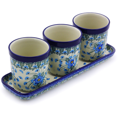 "Polish Pottery Set of 3 Planters 12"" Forget Me Not"