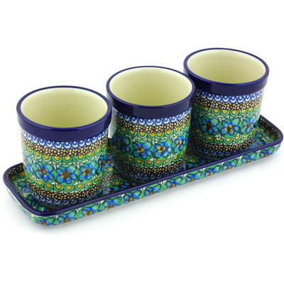 "Polish Pottery Set of 3 Planters 12"" Mardi Gra UNIKAT"