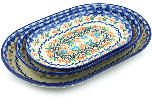 Polish Pottery Set Of 3 Platters 13 Fanciful Ladybug