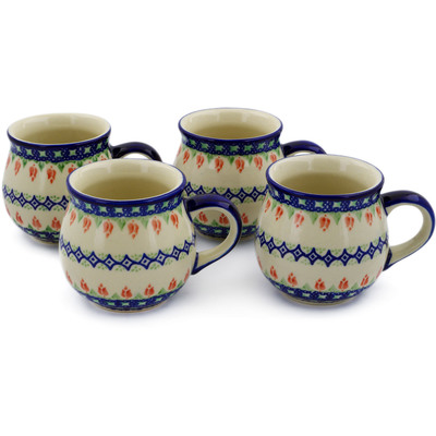 Polish Pottery Set of 4 12oz Mugs Tulips And Diamonds