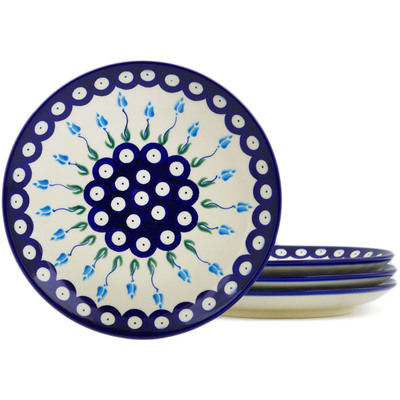 Polish Pottery Set of 4 dessert plates  Peacock Tulip Garden