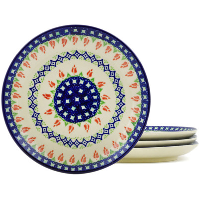 Polish Pottery Set of 4 dessert plates  Tulips And Diamonds