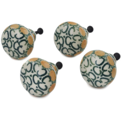 Polish Pottery Set of 4 Drawer Pull Knobs 1-1/2 inch Autumn Wheatfields