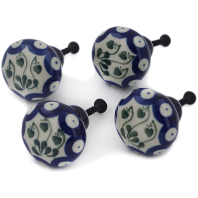 Polish Pottery Set of 4 Drawer Pull Knobs 1-1/2 inch Bleeding Heart Peacock