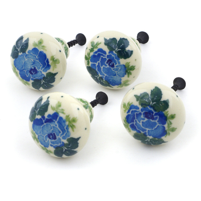 Polish Pottery Set of 4 Drawer Pull Knobs 1-1/2 inch Blue Garland