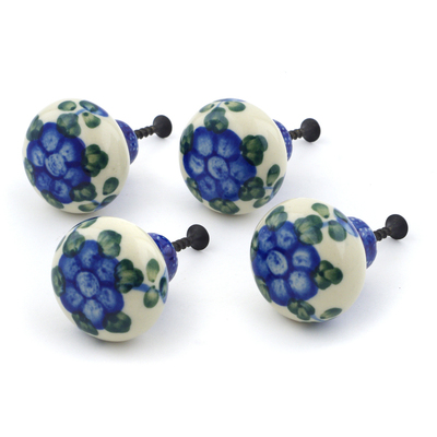 Polish Pottery Set of 4 Drawer Pull Knobs 1-1/2 inch Blue Poppies