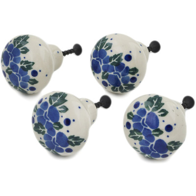 Polish Pottery Set of 4 Drawer Pull Knobs 1-1/2 inch Blue Speckle Garland