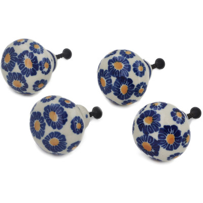 Polish Pottery Set of 4 Drawer Pull Knobs 1-1/2 inch Blue Zinnia