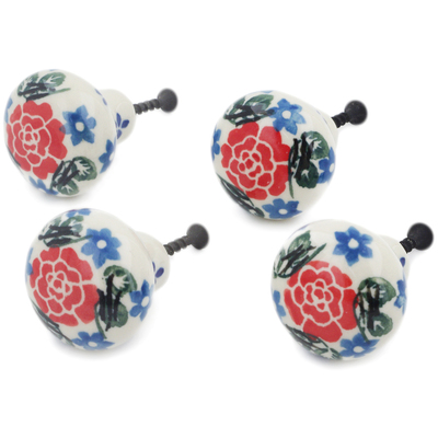 Polish Pottery Set of 4 Drawer Pull Knobs 1-1/2 inch Burst Of Roses