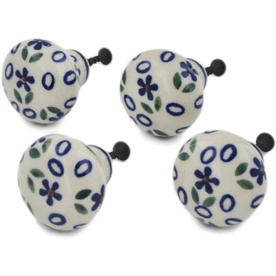Polish Pottery Set of 4 Drawer Pull Knobs 1-1/2 inch Daisy Sprinkles