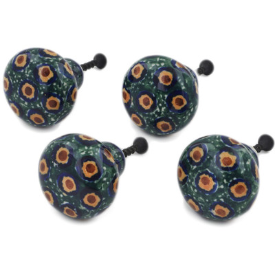 Polish Pottery Set of 4 Drawer Pull Knobs 1-1/2 inch Emerald Peacock