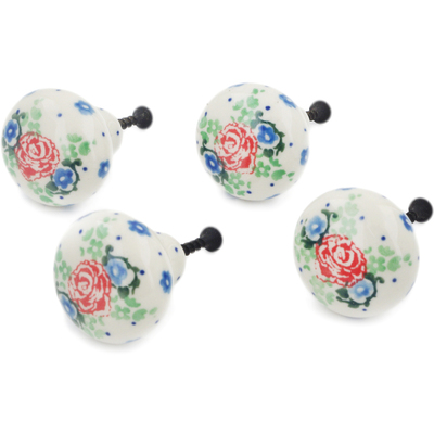 Polish Pottery Set of 4 Drawer Pull Knobs 1-1/2 inch Flower Passion