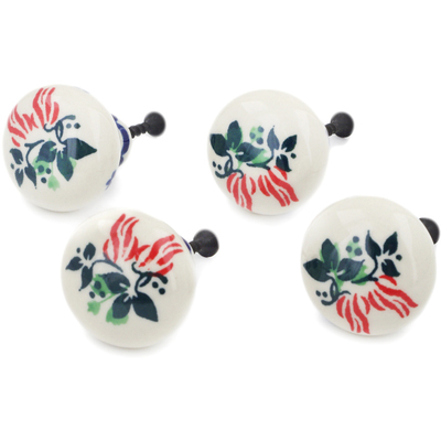 Polish Pottery Set of 4 Drawer Pull Knobs 1-1/2 inch Hanging Flowers