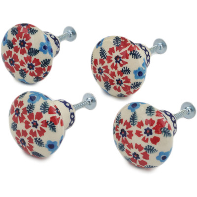 Polish Pottery Set of 4 Drawer Pull Knobs 1-1/2 inch Kismet Red