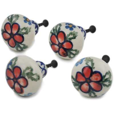 Polish Pottery Set of 4 Drawer Pull Knobs 1-1/2 inch Lancaster Rose