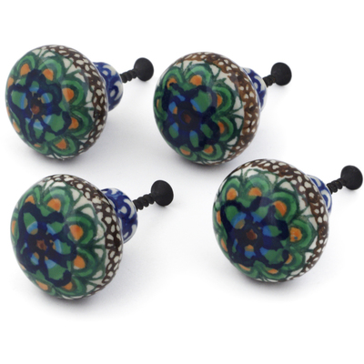 Polish Pottery Set of 4 Drawer Pull Knobs 1-1/2 inch Mardi Gra UNIKAT