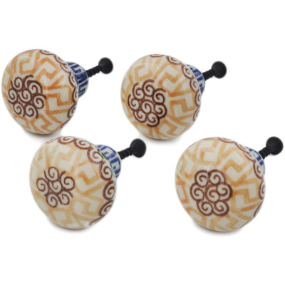 Polish Pottery Set of 4 Drawer Pull Knobs 1-1/2 inch Mediterranean Sea