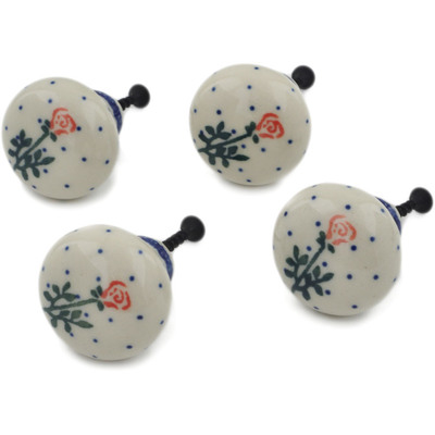Polish Pottery Set of 4 Drawer Pull Knobs 1-1/2 inch Single Rose