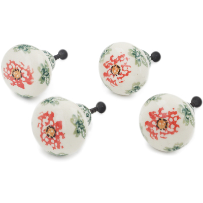 Polish Pottery Set of 4 Drawer Pull Knobs 1-1/2 inch Sponge Garland