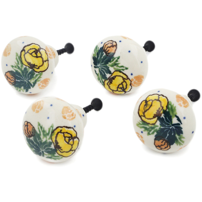 Polish Pottery Set of 4 Drawer Pull Knobs 1-1/2 inch Spring Flowers