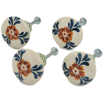 Polish Pottery Set of 4 Drawer Pull Knobs 1-1/2 inch Three Lillies UNIKAT