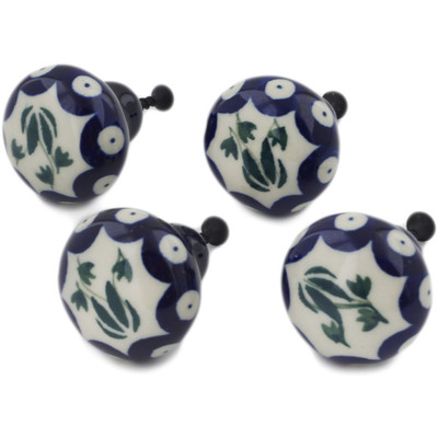 Polish Pottery Set of 4 Drawer Pull Knobs 1-1/2 inch Weeping Tulips