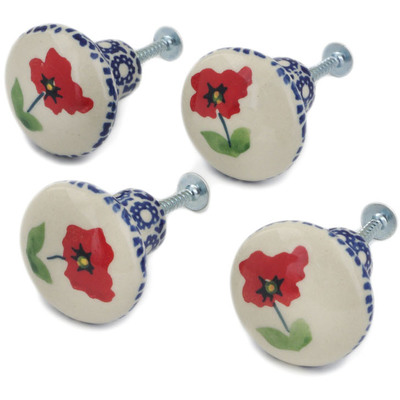 Polish Pottery Set of 4 Drawer Pull Knobs 1-1/2 inch Wind-blown Poppies