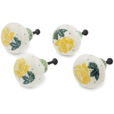 Polish Pottery Set of 4 Drawer Pull Knobs 1-1/2 inch Yellow Rose